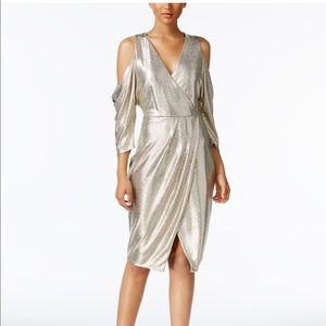 Rachel Roy Metallic Cold Shoulder Wrap Dress